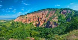 Sikt av den röda ravin (Rapa Rosie), Rumänien Arkivfoton