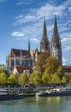 Sikt av den Regensburg domkyrkan, Tyskland Arkivfoton