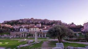 Sikt av den roman marknaden och akropolen över arkivfilmer