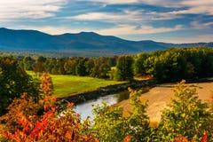 Sikt av den Saco floden i Conway, New Hampshire Royaltyfria Foton