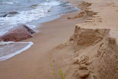 Sikt av den sandiga stranden royaltyfri bild