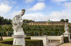 Sikt av den Sanssouci slotten, Potsdam, Tyskland arkivfoton