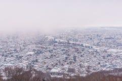 Sikt av den Sapporo staden i vinter Arkivbild
