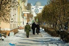 Sikt av den Shkolnaya gatan Arkivfoto