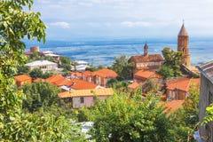 Sikt av den Signagi och Alazani dalen Arkivfoto