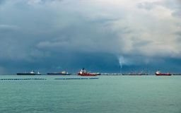 Sikt av den Singapore kanalen Fotografering för Bildbyråer