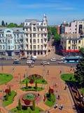 Sikt av den Soborna fyrkanten, Vinnytsia, Ukraina arkivbilder
