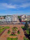Sikt av den Soborna fyrkanten, Vinnytsia, Ukraina arkivfoton