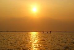 Sikt av den största sjön i nakhonsawan, Thailand Arkivbild