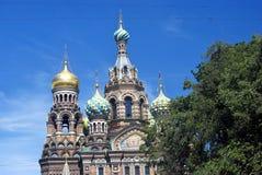 Sikt av den St Petersburg staden, Ryssland spilld kyrklig frälsare för blod Royaltyfri Foto