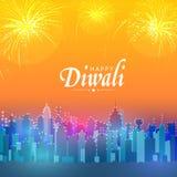 Sikt av den stads- staden för lyckliga Diwali stock illustrationer