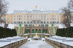 Sikt av den storslagna slott- och Samson springbrunnen i den dystra Februari dagen peterhof Arkivfoton