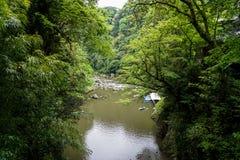 Sikt av den Takachiho klyftan från den ovannämnda seende floden, fartyg på pir a Arkivbilder