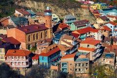 Sikt av den Tbilisi staden Arkivfoton