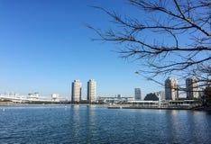 Sikt av den Tokyo fjärden med många moderna byggnader Fotografering för Bildbyråer