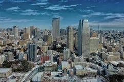 Sikt av den Tokyo staden i vinter från det Tokyo tornet gjort med tappning arkivbild