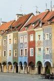 Sikt av den tomma huvudsakliga fyrkanten Stary Rynek på Poznan Arkivbilder