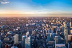Sikt av den Toronto staden från ovannämnt - Toronto, Ontario, Kanada Arkivfoto
