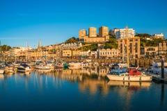 Sikt av den Torquay hamnen, södra Devon, UK Fotografering för Bildbyråer