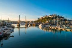 Sikt av den Torquay hamnen, södra Devon, UK Arkivbilder
