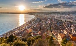 Sikt av den trevliga staden, Cote d'Azur - Frankrike Arkivfoton