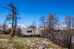 Sikt av den Triglav nationalparken Slovenien Arkivfoton