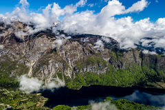 Sikt av den Triglav nationalparken Slovenien Fotografering för Bildbyråer