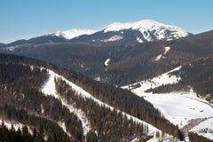 Sikt av den ukrainska semesterorten för skidalutning Arkivfoto