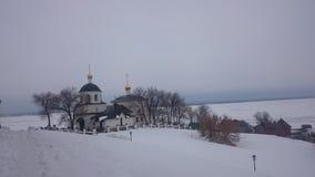Sikt av den upplysta Kreml i vinteraftonen, Kazan, Ryssland fotografering för bildbyråer