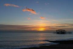 Sikt av den västra pir i Brighton East Sussex på Januari 8, 2019 royaltyfri fotografi