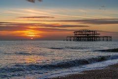 Sikt av den västra pir i Brighton East Sussex på Januari 8, 2019 royaltyfria foton