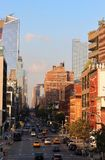 Sikt av den västra sidan för Manhattan ` s med byggnaden för 10 som Hudson Yards blir i korsningen mellan den tionde avenyn och a Royaltyfri Foto