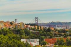 Sikt av den västra sidan av Lissabon royaltyfria bilder