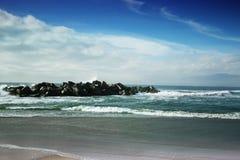 Sikt av den Venedig stranden Kalifornien stormiga waves för hav härlig se Fotografering för Bildbyråer