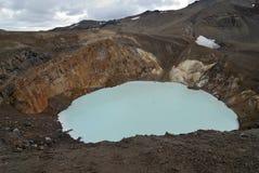 Sikt av den Viti krater, Askja, Island arkivbilder
