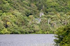 Sikt av dengotiska kyrkan på det Kylemore godset, över sjön som är västra av Irland Royaltyfri Foto