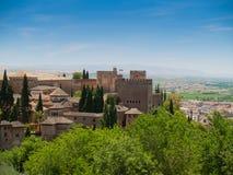 Sikt av det Alhambra slottet i Granada, Spanien Royaltyfria Foton