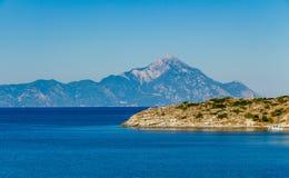 Sikt av det Athos berget Fotografering för Bildbyråer