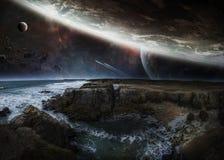 Sikt av det avlägsna planetsystemet från tolkningbeståndsdelar för klippor 3D Arkivfoton