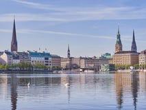 Sikt av det berömda byggnadsstadshuset i mitt av Hamburg Fotografering för Bildbyråer