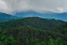 Sikt av det Carpathian från Rasnov Royaltyfria Bilder