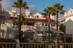 Sikt av det Coronado hotellkomplexet, San Diego, USA, Kalifornien arkivfoton
