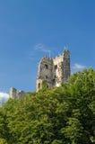 Sikt av det förstörda slotttornet i Tyskland, sommardag Arkivfoton