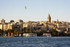 Sikt av det Galata tornet, Istanbul Royaltyfri Bild