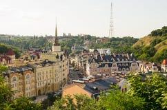 Sikt av det gamla området av Kyiv Royaltyfri Fotografi