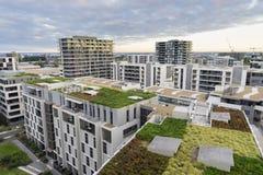 Sikt av det gröna taket på moderna byggnader i Sydney, Australien Royaltyfri Fotografi