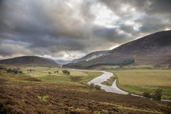 Sikt av det härliga landskapet av röktopasnationalparken i scotl Arkivbilder