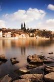 Sikt av det historiska fortet Vysehrad i Prague Royaltyfri Bild