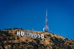 Sikt av det Hollywood tecknet från kanjon sjödrev, i Los Angele royaltyfria foton