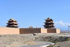 Sikt av det Jiayuguan fortet, Kina arkivfoto